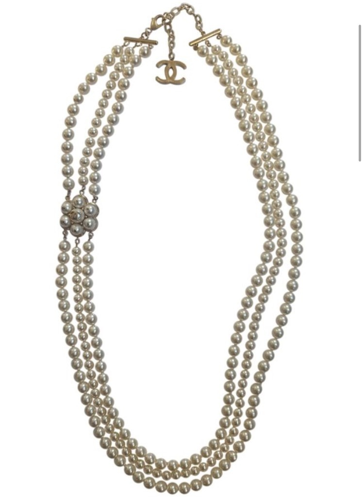 CHANEL 2015 CC CAMELLIA FLOWER TRIPLE STRAND SAUTOIR PEARL NECKLACE AUTH