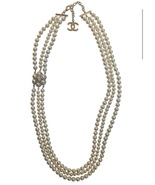 CHANEL 2015 CC CAMELLIA FLOWER TRIPLE STRAND SAUTOIR PEARL NECKLACE AUTH - $1,399.99
