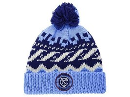 New York City FC adidas MLS Soccer Team Sweater Pom NYC FC Winter Hat Be... - $20.85