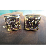 Mens Custom Hand Crafted Mica Glitter Resin Cuff Links Antiqued Gold Finish - $29.99