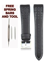 Compatible Seiko Sportura SSC274P 21mm Black Genuine Leather Watch Strap... - $38.91