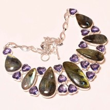 """Blue Fire Labradorite Faceted Amethyst Handmade Jewelry Necklace 17-18"""" ... - $21.03"""