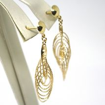 18K YELLOW GOLD PENDANT EARRINGS, MULTIPLE WORKED OVALS, SPIRAL 4cm, 1,6 INCHES image 3