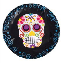 Day of the Dead Round Paper Plates x 8, Halloween Party/Catering Supplie... - $2.82
