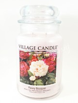 Village Candle Peony Bouquet Scented Large Classic Jar Candle 2 Wicks 26 oz - $30.00