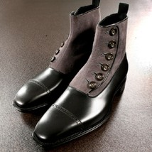 Handmade Men Two Tone Formal Boot, Men Button Up Boot, Cap Toe Ankle Boot - $179.99