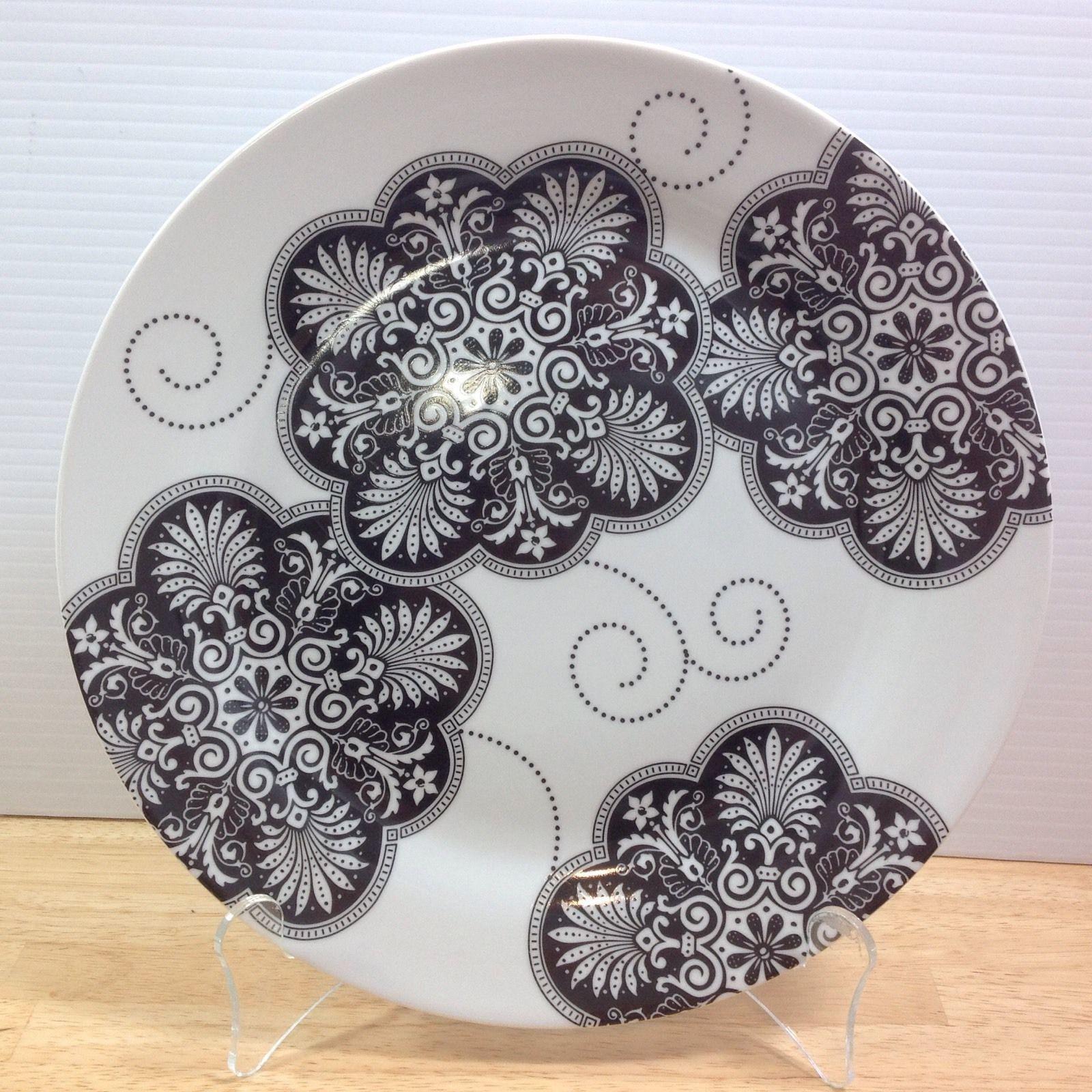 """Paris Royal Dinner Plate Black White Flowers I Godinger 10.5"""" RARE - $18.65"""