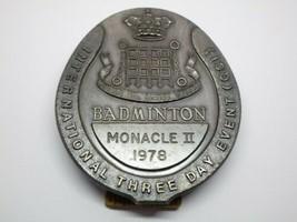 Vintage 1978 Monacle II Badminton Badge Medal Award International Metal image 1