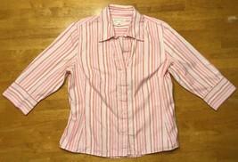 Banana Republic Women's Pink, White & Orange Striped Dress Shirt - Petite Large - $11.87