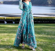 Long Sleeve Plus Size Floral Chiffon Dress Lady Maxi Long Chiffon Flower Dress   image 8