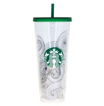 STARBUCKS INK WAVES Abstract Dot Siren Logo Cold Coffee Cup Venti TUMBLE... - $107.91