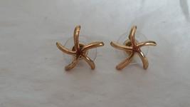 """.5""""VINTAGE STARFISH GOLDTONE STUD POST EARRINGS, BRASS ANTIQUE, ARTSY, U... - $4.94"""