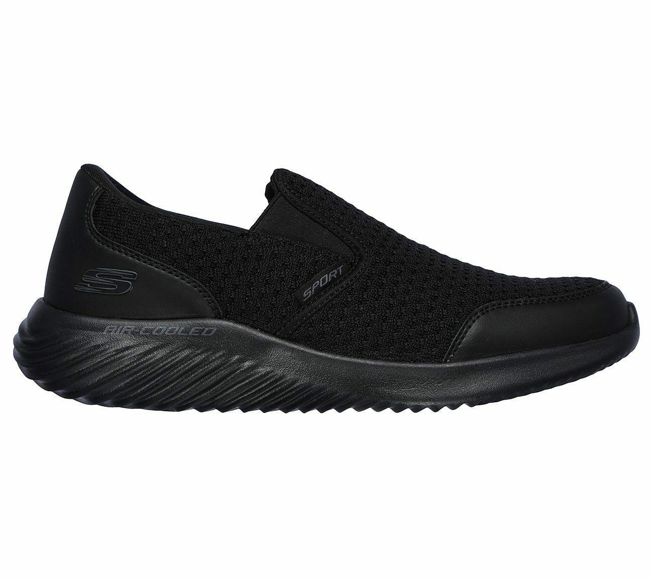 Skechers Black shoe Men Memory Foam Comfort Slip On Casual Mesh Sport Walk 52507