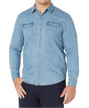 Levi's Men's Big & Tall Barstow Western Pearl Snap Casual Denim Dress Shirt image 3