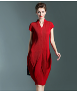 Women's Unique Diagonal Pleat Dress (Premium) - $81.54