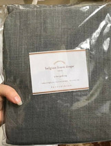 Pottery Barn Set 2 Belgian Linen Drape Shale Gray 96L Curtains Pair Libe... - $229.00