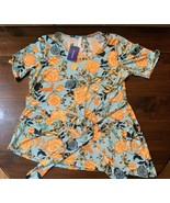 PIPHANY blue orange floral MERCI TIE TOP Honey & Lace NEW w/ Tags Size XL - $23.38