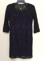 Spense Petite 3/4 Sleeve Lace Sheath Dress 84663P Black / Violet 12P - $20.90