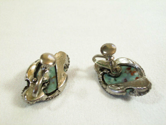 TURQUOISE Antiqued Silver Plate Screw Back Earrings Twisted Rope Design Vintage