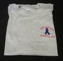 T-Shirt Relay For Life Got Hope Purple Ribbon XL Cancer Ash Gray L/S Unisex New - $20.34