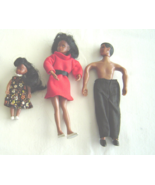 Vintage African American Mini Rubber Doll Family Mom Dad  and Sister  - $32.99