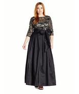 Alex Evenings Women's Plus Size Line Ballgown Evening Dress, Black/Gold,... - $113.85