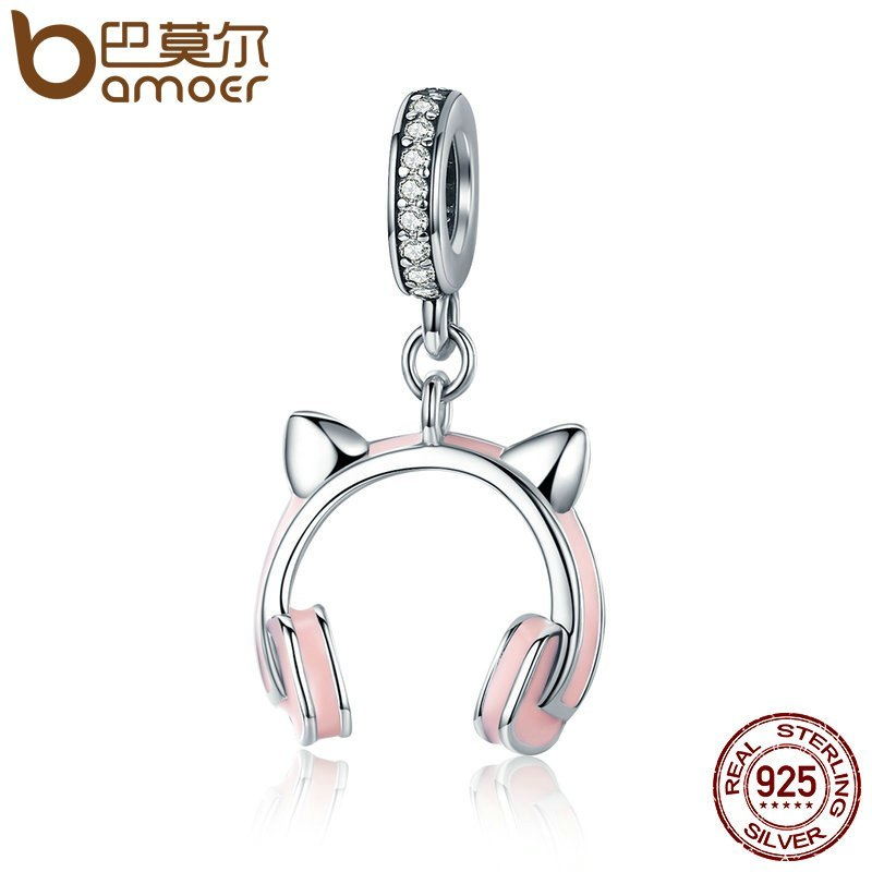New Arrival 925 Sterling Silver Cat Ear Earphone Dangle Pendant Charm