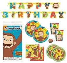 Curious George Deluxe Children's Birthday Party Supplies Pack with Decor... - $42.80