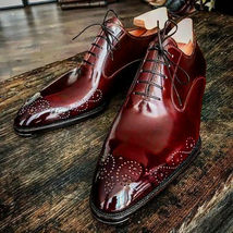 Magnificent Maroon Color Black Sole Superior Leather Lace Up Men Oxford Shoes - $139.99+