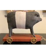 Antique Stuff Pig Pull Toy on Wooden Platform and Spoked Metal Wheels - $999.00