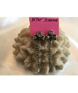 Betsey Johnson Statement Earrings Rhinestone Chain Dangle Bow Gold Tone - $34.85