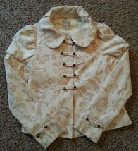 Elevenses Anthropologie Latte Art Velvet Victorian Puff Slv Jacket 4 - $94.99