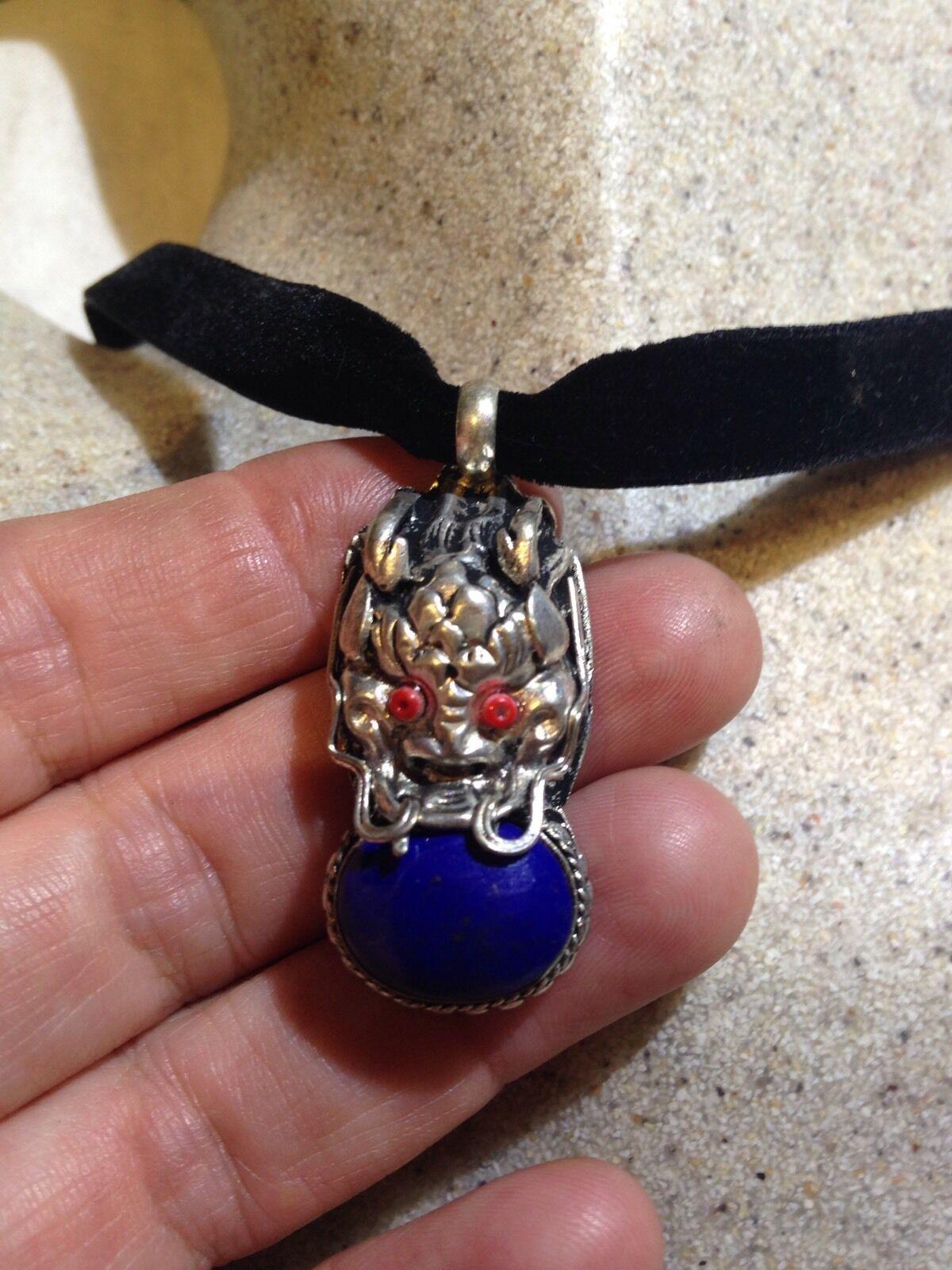 Vintage Argent Bronze Repos Véritable Tibet Lapis Lazuli Dragon Collier