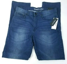Kenneth Cole New York Mens Jeans Size 34x32 Stretch Straight Leg Blue NEW - $33.40