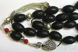 Greek Komboloi Worry Beads Black Lava Red Coral & Sterling Silver - $143.55
