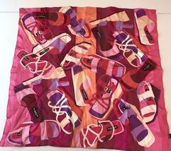 """Kenneth Cole Silk Scarf Chunky Shoes Handkerchief 21"""" Square - $14.50"""