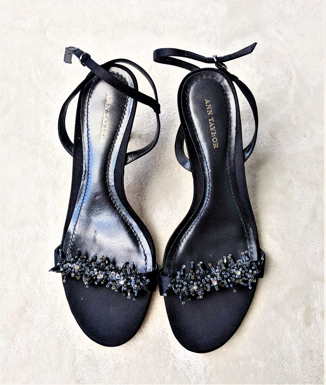 7bb3e92077f Ann Taylor Black Beaded Sandals Heels Size and 50 similar items