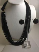 Vintage Multistrand Black Chain Necklace Clip Earring Set - $24.13