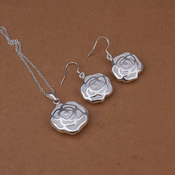 Primary image for Hollow Flower Pendant Necklace and Earrings Set 925 Sterling Silver NEW