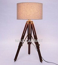 NAUTICALMART- Natural Wood And Beige Color Tripod Table Lamp - $137.61