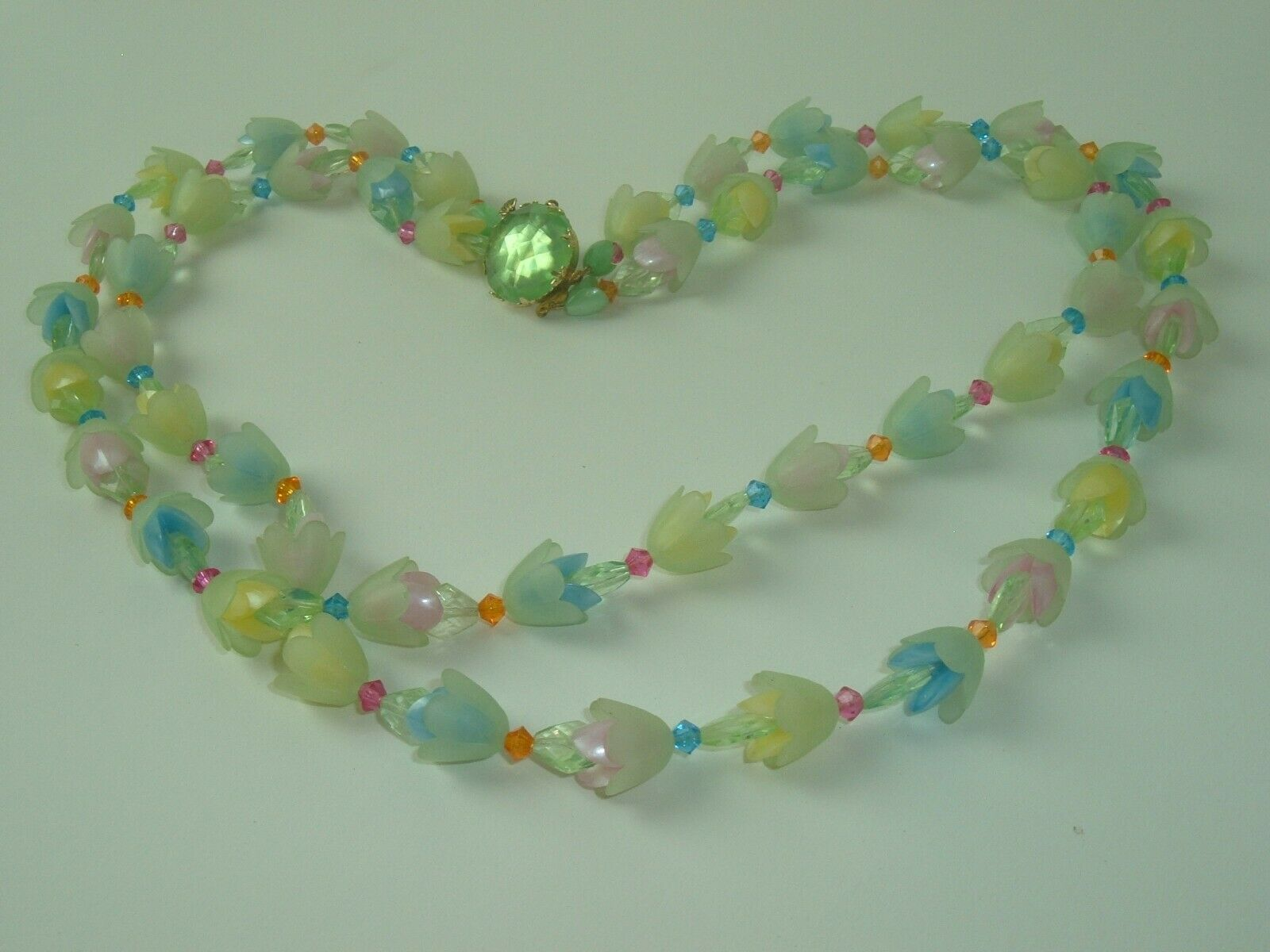 Vtg Necklace West Germany Pastel Flowers Multi Strand Plastic Beaded Statement