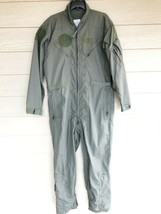 US AIR FORCE USAF NOMEX FIRE RESISTANT FLIGHT SUIT GREEN CWU-27/P - 46L - $54.45