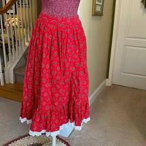 Herman Geist Red CosPlay Peasant Boho Handkerchief Women's Ruffle Skirt ... - $14.80