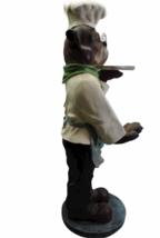 """Vintage Bulldog Dog Chef Butler Statue Glasses Holding Platter Serving Tray 33"""" image 2"""