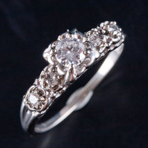 Vintage 1940's 14k White Gold Round Diamond Engagement Ring .43ctw Size ... - $1,540.00