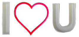 I Heart U Love You Valentines Day Set Of 3 Cookie Cutters 3D Printed USA... - $4.99