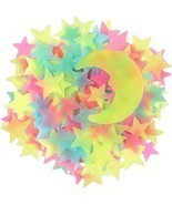100Pcs Moon Glow in The Dark Luminous Stars Fluorescent Plastic Wall Sti... - $21.99