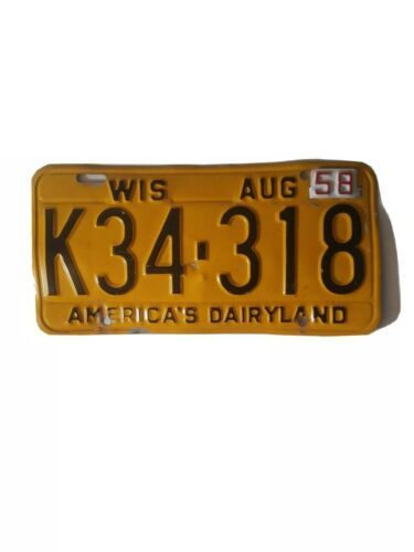 1957 58 Tag. Wisconsin License Plate WIS