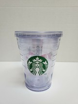 STARBUCKS clear heavy plastic cold drink cup/glass with screw on lid str... - $9.89