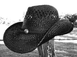 New ROCK STAR Rock n Roll Cowboy Shapeable Western Raffia Straw River Ha... - €35,36 EUR